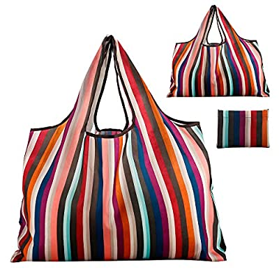 Reusable Grocery Bag, Gophra 2 Packs Large Washable Foldable Eco Friendly Nylon Heavy Duty Fits in Pocket Shopping Tote Bag (New Rainbow 1)