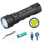 OLIGHT Seeker 2 USB wiederaufladbare Taschenlampe 3000 Lumen, 3xLEDs Taschenlampen extrem hell, Reichweite bis zu 220 Meters, 5000mAhBatterie, 5 Beleuchtungsmod für Campen, Wandern, Fahrradfahren usw.