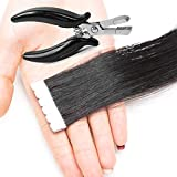 Extensiones de cabello con cinta adhesiva con alicates de extensión de pelo, 80 unidades de extensiones de cabello humano – Balayage de pelo real recto para mujeres salones, marrón cobre, 28 pulgadas