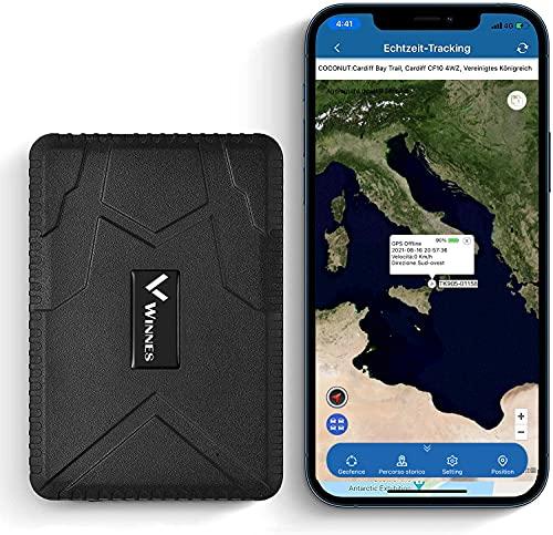Winnes GPS Tracker tracking in Tempo Reale 4 Mese Pausa -GSM, SIM, SMS GPS Localizzatore Tracciatore di Posizione Antifurto per Auto Veicoli Moto Camion con Magnete Batteria da 10000mAh TK915