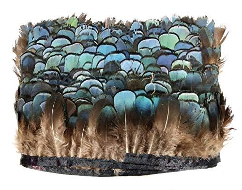 PANAX Echte Hühnerfedern auf 200cm Stoffstreifen - ca. 7cm Federnlänge, Variante Blau