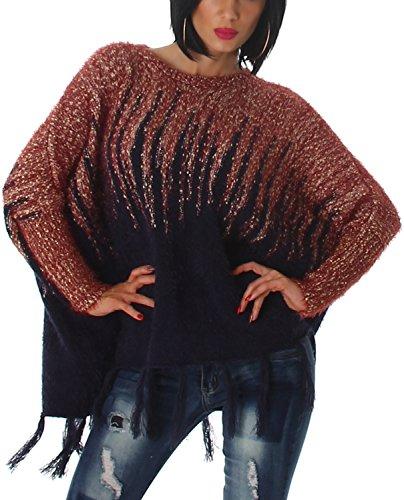 Voyelles Damen Poncho Ponchopullover Fransen kuschelig weich warm flauschig Ärmel Hairy Glitzer-Fäden Feinstrick Glanz Fledermaus-Ärmel, Navy Blau Rot 36 38 40