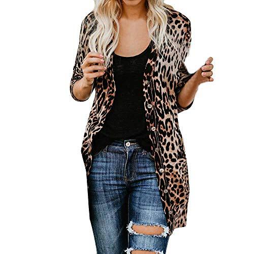 VEMOW Herbst Frühling Elegante Damen Frauen Langarm Leopardenmuster Mode Mantel Casual Täglichen Party Strand Freizeit Bllouse T-Shirt Tank Tops(Braun, 46 DE / 5XL CN)