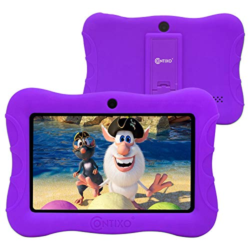 Contixo V9-3 7 inch Kids Tablet with Parental Control - Learning Games and Educational Apps Pre-Loaded - WiFi Android Tablet 16 GB HD Display - Kid-Proof - Great Gift for Toddler Toys (Purple)