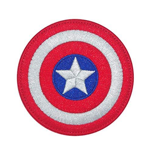 Cobra Tactical Solutions SHIELD CAPTAIN AMERICA MARVEL Parche Bordado Táctico Moral Militar con Cinta adherente de Airsoft Paintball para Ropa de Mochila táctica