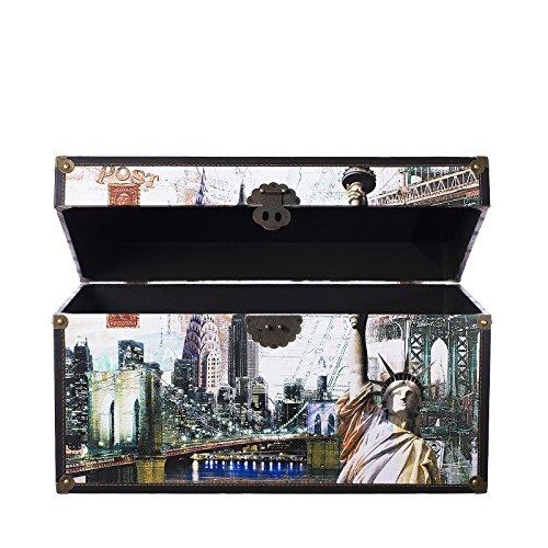 Truhe Kiste SJ12001 New York, USA, Holztruhe mit Canvas bezogen im Vintage Look, Schatzkiste,Kiste, Piratenkiste, Kleinmöbel, Mit Metallbeschlägen, Antikoptik, Holz, verschieden Größen, Maritim, Deko, Hochwertig, Kolonialtruhe, Kolonialstil, Holzbox, Truhe mit Ornamenten . (Größe XL 59cm x 36cm x 33cm)