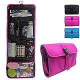Relavel Travel Hanging Toiletry Bag for Men Women Travel Kit Shaving Bag Waterproof Wash Bag Makeup Organizer for Bathroom Shower (Hot Pink)