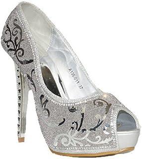 bebd0dbf QUNHUI - QUNHUI Gliter Decorado A135-011 Zapatos Fiesta Mujer con Tacón  Plata Plateados Moda