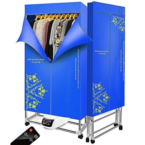 Bostar Secadora de Ropa eléctrica 1500W rápido Interruptor de Control Remoto portátil Plegable,Gran Capacidad 15 Kg,Aire Caliente de Secado Armario con 240 min Temporizador 3 Niveles (azul)