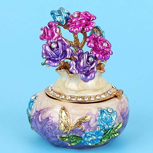 SALUTUYA Joyero Artesanal, decoración Artesanal, joyero esmaltado de aleación de Zinc, para Mujeres para el hogar(Purple)