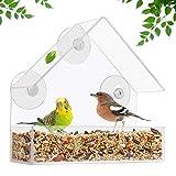 Belle Vous Comedero Aves de Ventana (Pack de 2) - Estación Aves Acrílico Transparente (15 x 15 x 6...