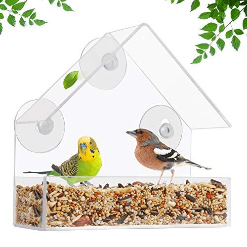 Belle Vous Fenster Vogelfutterhaus (2 Stk) - Vogelfutterspender aus Acrylglas Transparent (15x15x6cm) mit 3 Saugnäpfen und Futterkasten – Vogelhaus Vogel Futterhaus Wetterfest zum Aufhängen an Fenster