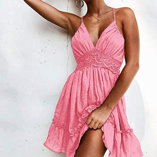 Vestidos De Fiesta Vestir Dress Mujer Niña Vestido De Encaje para Mujer con Volantes Elegante Mini Vestido De Playa Suelto De Vacaciones