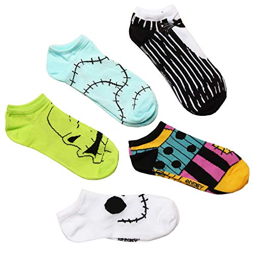Nightmare Before Christmas Outfits & Faces 5-pack Women's No Show Socks