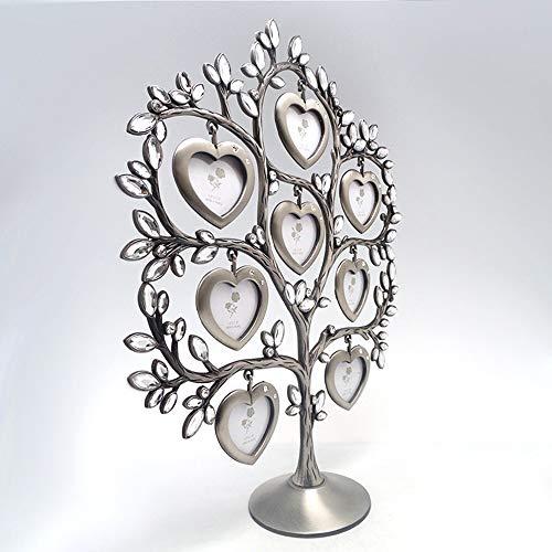 Shangfu Decoration Craft Gift White Diamond-studded Metal Photo Frame Eight-leaf Personality Tree Photo Frame Home Decoration DIY