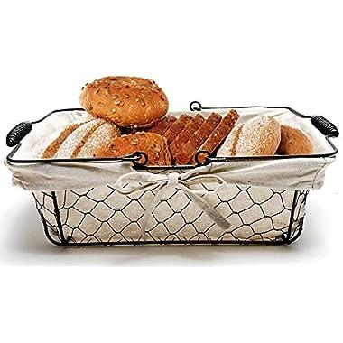 Mkono Vintage Bread Basket Black Wire Food Serving Basket with Removable Liner for Picnic Coffee Kitchen