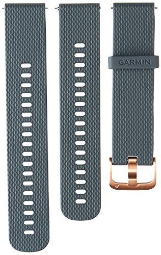 Garmin Banda de liberación rápida, 20 mm, azul granito con herrajes de oro rosa.