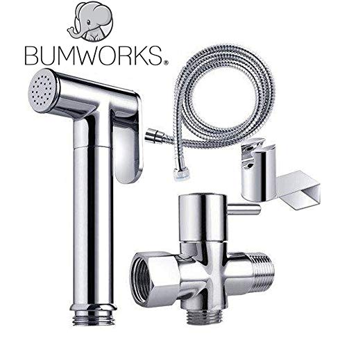 Bumworks Handheld Bidet Cloth Diaper Sprayer for Toilet | Bum Gun Butt Washer, Hand Held Bidet Hose Attachment Water Jet Spray Set | Baday Toilet Kit (Bedit Badae Biday Boday Toilet Sprayer Seat)