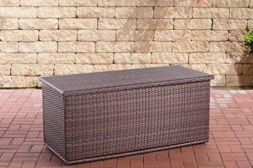 CLP Poly-Rattan Auflagenbox Comfy l Gartentruhe für Kissen und Auflagen l erhältlich, Farbe:braun-meliert, Größe:125