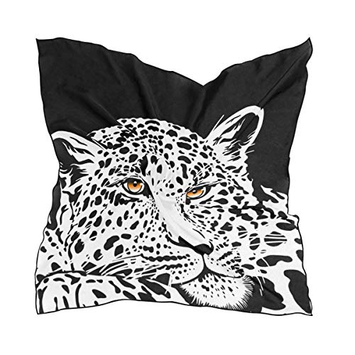 Voxpkrs Womens Leopard With Gold Eyes Silk Feeling Square Scarf Satin Neck Scarves Head Hair Wraps