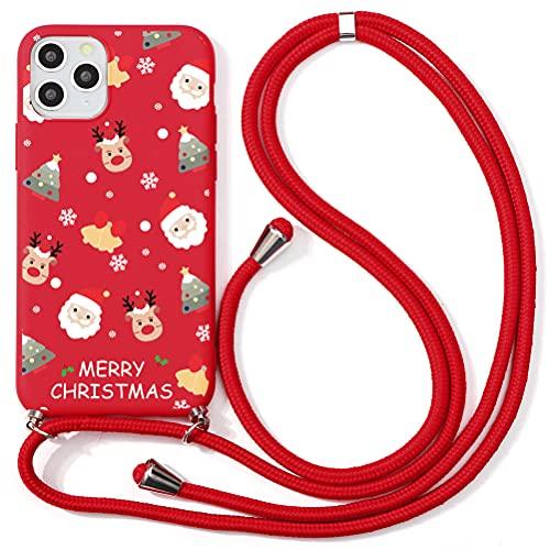 ZhuoFan Navidad Funda con Cuerda para Xiaomi Mi A2 Lite Funda [5.84'] Rojo Carcasa de Silicona Suave Case con Colgante Cordon Colgar Correa de Cuello Antichoque Bumper Cover para Mi A2 Lite
