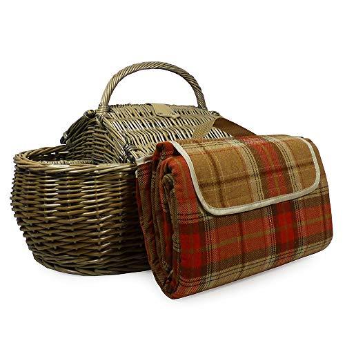 Luxus 2 Personen Picknick Korb und Zubehör - Boot Style Kollektion, einschließlich Qualität Lila Tartan Picknickdecke - Geschenk Ideen für Vatertag, Valentinstag, Muttertag, Geburtstag, Business