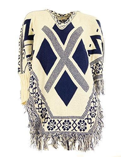 Sensations Italy Damen Pullover mit Langarm Poncho Cape mit Fransen und Aztec Muster Pullover Jacke Longpullover Cardigan