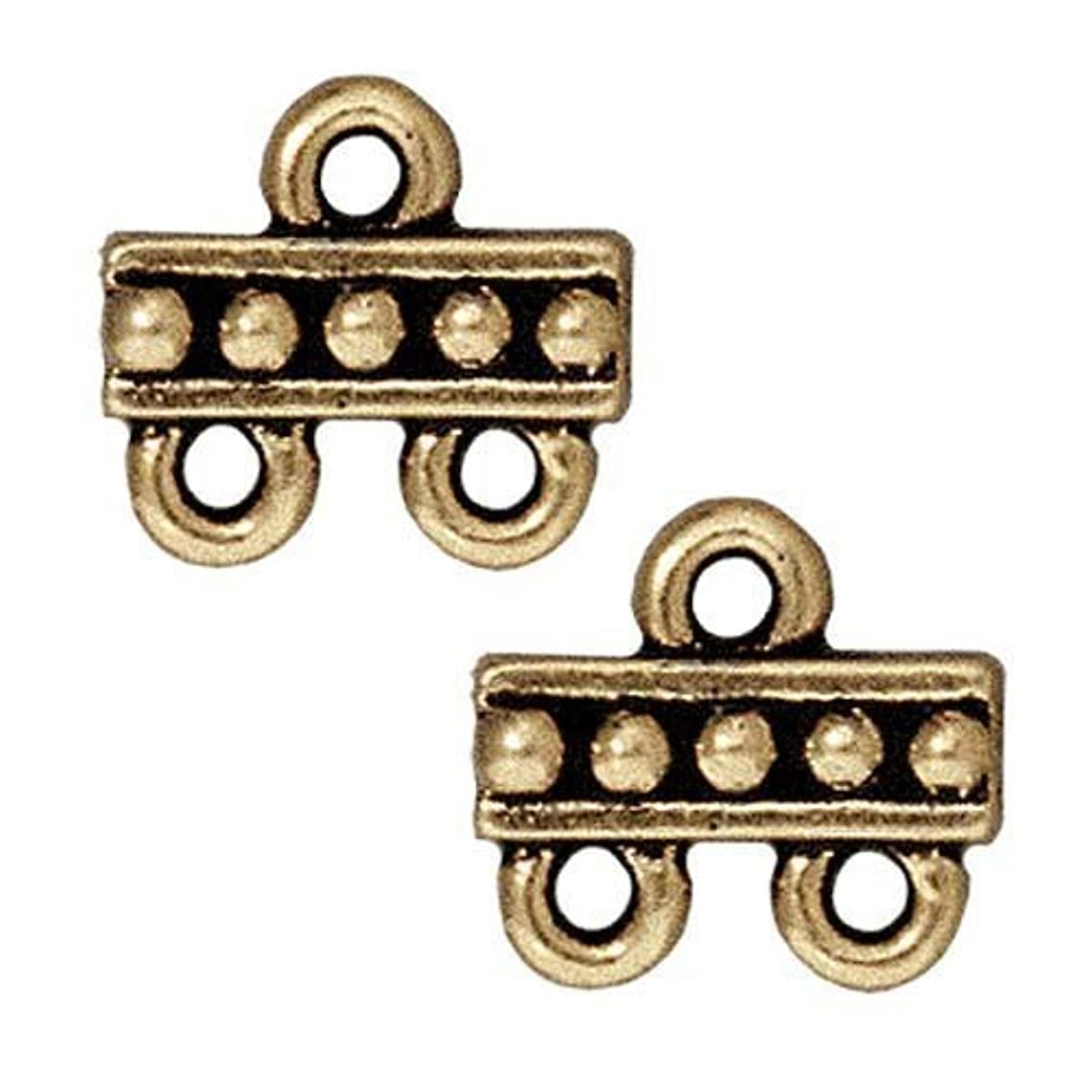 TierraCast 2-1 Link Beaded Decorative Item, 9.5 x 10.5mm, Antiqued Brass Oxide Finish Pewter, 4-Pack