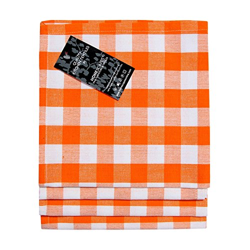HOMESCAPES Serviettes de Table à Carreaux, Lot de 4, Linge de Table en Coton uni, Orange