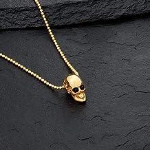 Alfonso Sánchez Jewelry - Collar Craneo Plata Baño de Oro Ojos Onix