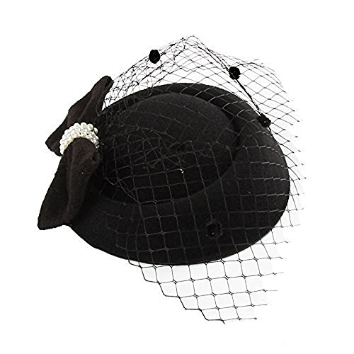 Rehoty Pillbox Hat, Fascinator Hats for Women Bowknot Veil Hair Clip Wedding Tea Party Headwear (Black 5)