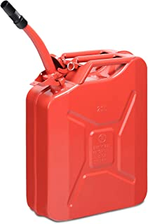 Goplus 20 Liter (5 Gallon) Jerry Fuel Can with Flexible Spout, Portable Jerry Can Fuel Tank Steel Fuel Can, Fuels Gasoline Cars, Trucks, Equipment (Red)