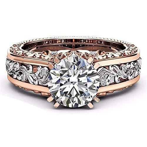 Lefang Vergulde 14-karaats roségouden ring champagne edelsteen diamantring is een goed klein cadeau, wit, nr. 6
