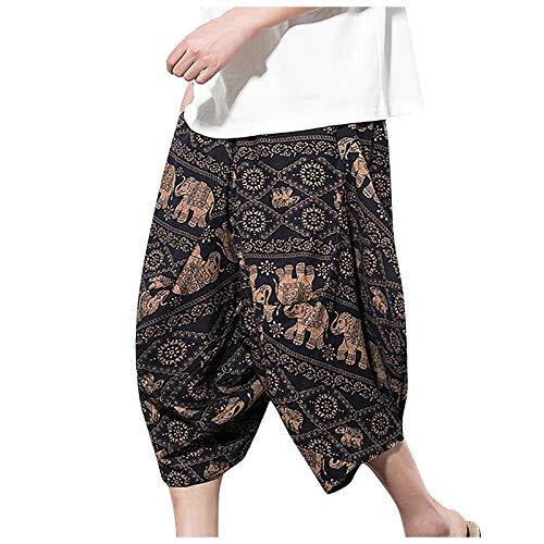 Pantalones Harem Sueltos Pantalones Hippie Pantalón de Lino Pantalones A Media Pierna Estampados Casuales de Verano
