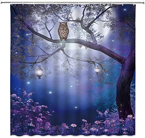 Moon Owl Shower Curtain Fantasy Fairy Misty Forest Flower Butterfly Tree Lanterns Nature Night product image