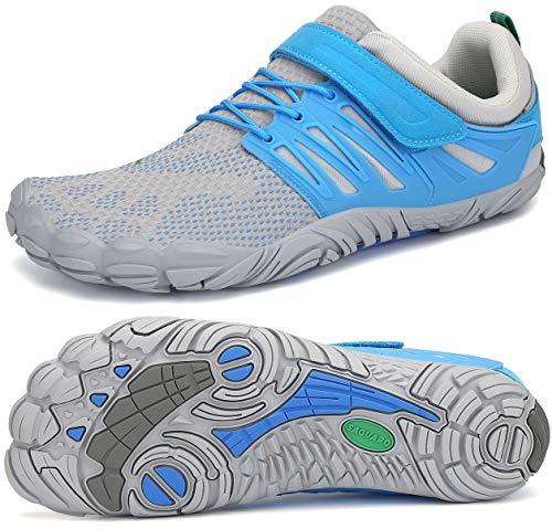 SAGUARO Transpirables Cinco Dedos Zapatillas de Deportes Masculina Femenino Bucle de Gancho Zapato Descalzos Ventilado Minimalista Zapatos de Baño Anfibio Cycling 2020, Trail Azul Claro 41