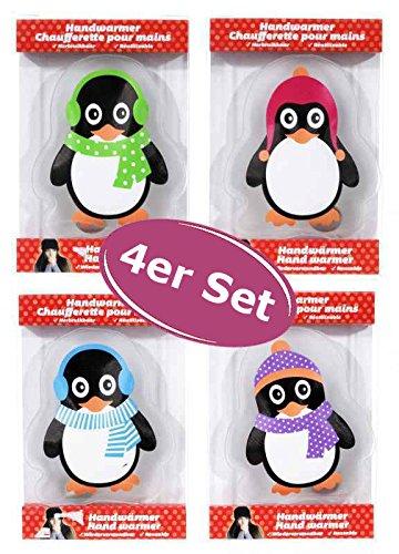 4er Set Taschenwärmer Pinguin itsisa® (tolles Wichtelgeschenk) Handwärmer, Taschenheizkissen