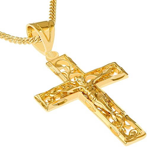 Lifetime Jewelry Large Filigree Crucifix Cross Necklace for Men & Women 24k Gold Plated with Free Lifetime Replacement Guarantee (Gold Crucifix with 20' Chain)