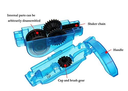 Fahrrad Kettenreinigungsgerät, FahrradKettenreiniger set mit Kettenreinigungsgerät + Kettenbürste + Ritzelbürste Bicycle Chain Cleaner für Motorrad-, Fahrrad- oder Rollerketten (Blau) - 2