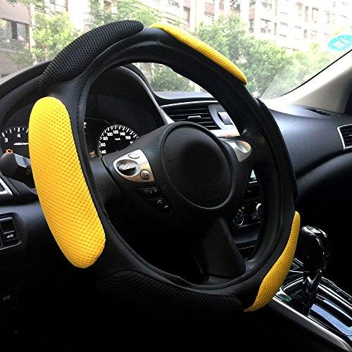 Rayauto Steering Wheel Cover -Odorless, Cooler Hands in Summer, Warmer Hands in Winter (Black Yellow)