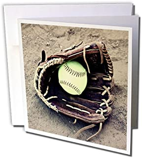 3dRose Set of 12 Greeting Cards, Baseball in Glove on Sand Photo (gc_184364_2)