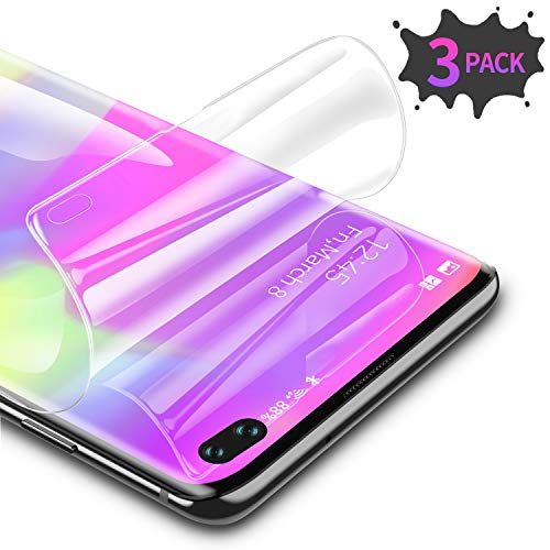 RIWNNI [3 Stück Schutzfolie für Samsung Galaxy S10 Plus, Ultra Dünn Weiche TPU Displayschutzfolie (Nicht Panzerglas), HD Klar Displayschutz Folie Full Screen für Samsung Galaxy S10 Plus - Transparent