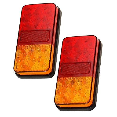 2PCS Feu Arrière LED Clignant Lampe de 10-LED pour Remorque Camion Camionette Caravane UV Voiture Véhicule