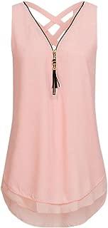 Women Loose Sleeveless Tank Top Cross Back Hem Layed Zipper V-Neck T Shirts Tops