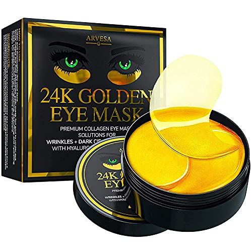 24K Gold Under Eye Collagen Patches for Puffy Eyes, Dark Circles & Bags - Gold Eye Pads Anti-Aging Hyaluronic Acid - Under Eye Mask - Moisturizing & Smoothing - Under Eye Bags Treatment - 30 Pairs