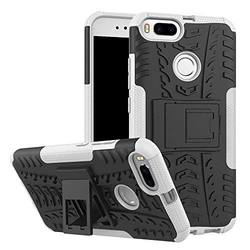 SMTR Xiaomi Mi A1 Funda, [Heavy Duty] Híbrida Rugged Armor Case Choque Absorción Protección Dual Layer Bumper Carcasa con pata de Cabra para Xiaomi Mi A1 blanco