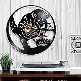 Usmnxo Reloj de pared con diseño de gato negro con diseño de atrapasueños de peces y vinilo para acuario, gato, maullido, decorativo con luz LED, 30 cm