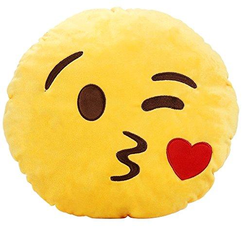 Ama-ZODE Weiche Emoji Smileyemoticon Yellow Round Kissen-Kissen-Plüsch Spielzeug-Puppe (Kuss EIN Herz)
