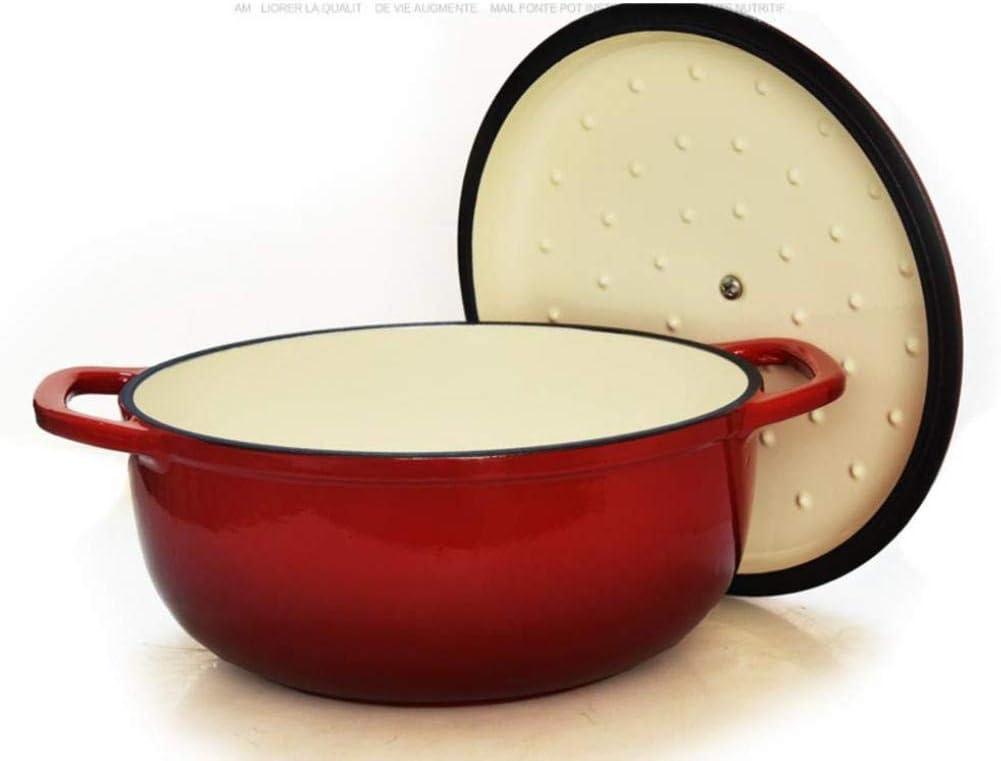 MYYINGBIN Casserole à Soupe Peu Profonde en éMail en Fonte Rouge avec Ustensiles De Cuisine à RevêTement D'éMail AntiadhéSif pour Induction, Red a Red B