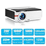 LED Projector 5000 Lumen High Brightness Outdoor Movie Projectors with HDMI USB...